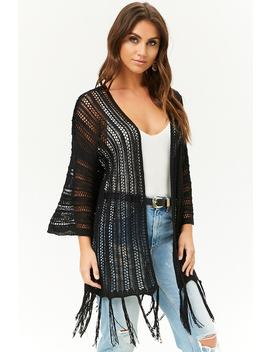 Open Knit Fringe Cardigan by Forever 21