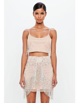 Peace + Love Nude Beaded Fringed Mini Skirt by Missguided