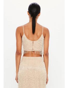 Peace + Love Nude Fringe Embellished Crop Top by Missguided