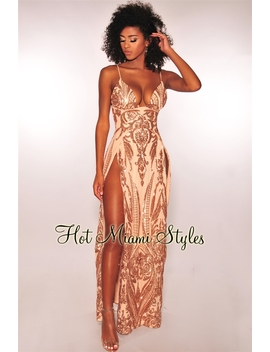 Rose Gold Sequins Nude Illusion Padded High Slit Maxi Dress by Hot Miami Style