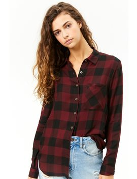 Button Front Buffalo Plaid Shirt by Forever 21
