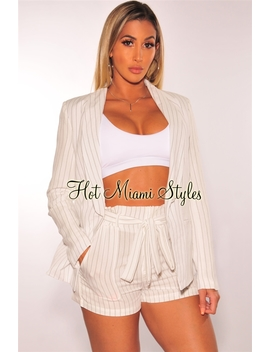 White Pin Striped Suit Blazer Belted Shorts Two Piece Set by Hot Miami Style