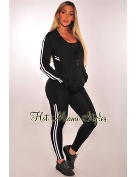 Black White Striped Hoodie Leggings Gym Two Piece Set by Hot Miami Style