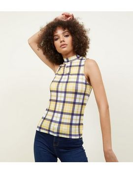 Yellow Check Funnel Neck Top by New Look