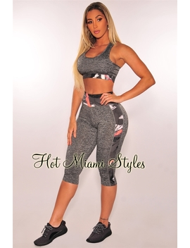 Charcoal Space Dye Padded Sports Bra Leggings Gym Two Piece Set by Hot Miami Style