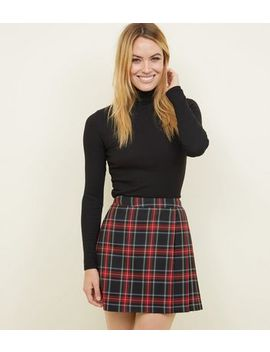Black Tartan Check Pleated Skirt by New Look