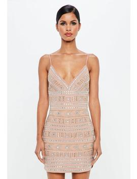 Nude Geometric Embellished Mini Dress by Missguided