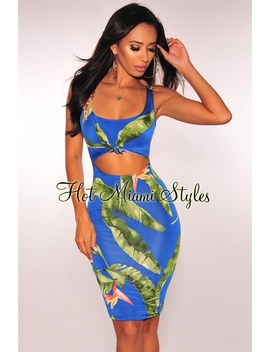 Royal Blue Green Palm Print Knotted Cut Out Dress by Hot Miami Style