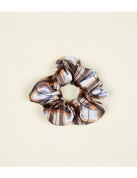 Cornflower Blue Tartan Scrunchie by New Look