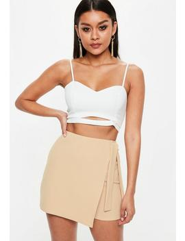 Nude Tie Wrap Skort by Missguided