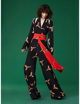 Long Sleeve Wrap Jumpsuit by Dvf