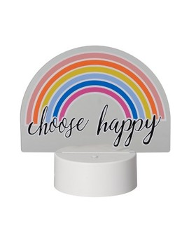 Led Lit Acrylic Sign Choose Happy Rainbow Novelty Sculpture Lights White   Room Essentials™ by Shop This Collection