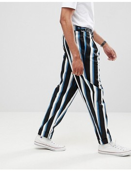 Asos Design Tall Wide Balloon Trousers In All Over Stripe by Asos Design