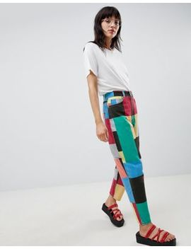 Asos Design Balloon Leg Boyfriend Jeans In Patchwork Print by Asos Design