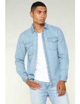 Warren Long Sleeve Woven Top   Blue by Fashion Nova