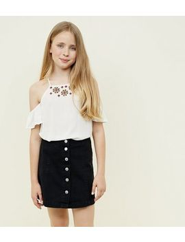 Teens Black Button Front Denim Skirt by New Look