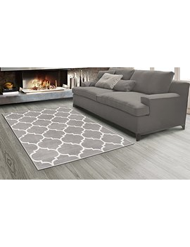 Sweet Home Stores King Collection Moroccan Trellis Design Area Rug, 7'10 X 9'10, Grey by Sweet Home Stores