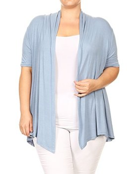 Fashion Stream Women's Plus Size Solid Short Sleeves Open Front Cardigan. Made In Usa by Fashion Stream