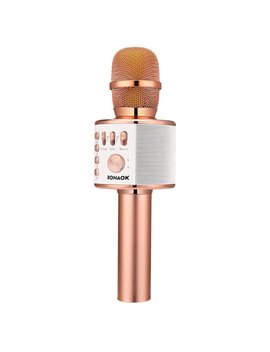Bonaok Wireless Bluetooth Karaoke Microphone,3 In 1 Portable Handheld Karaoke Mic Home Party Birthday Speaker Machine For I Phone/Android/I Pad/Sony, Pc And All Smartphone(Rose Gold) by Bonaok