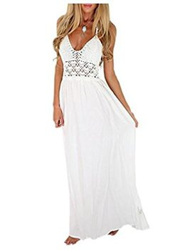 K/T Women's Dresslily Beach Crochet Backless Bohemian Halter Maxi Long Dress by K/T