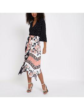 Black Floral Chiffon Hanky Hem Skirt by River Island