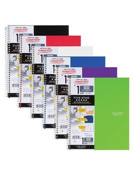 "Five Star Spiral Notebooks, 1 Subject, Graph Ruled Paper, 100 Sheets, 11"" X 8 1/2"", Color Will Vary, 2 Pack (73531) by Five Star"