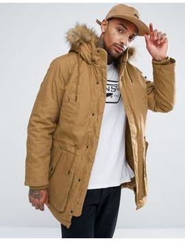 Bershka Parka With Detachable Fur Hood In Camel by Bershka
