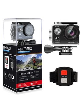 Akaso Ek7000 4 K Sport Action Camera Ultra Hd Camcorder 12 Mp Wi Fi Waterproof Camera 170 Degree Wide View Angle 2 Inch Lcd Screen W/2.4 G Remote Control/2 Rechargeable Batteries/19 Accessories Kits (Black) by Amazon