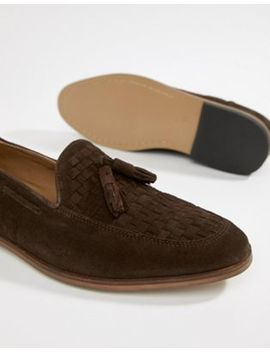 Asos Design Loafers In Brown Suede With Woven Detail by Asos Design
