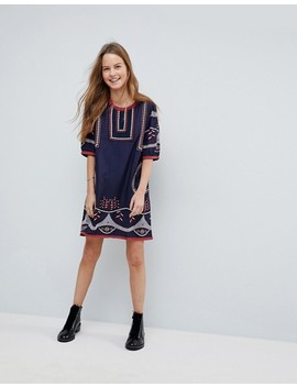 Hazel Embroidered Shift Dress by Casual Dress
