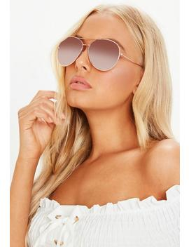 Rose Gold Framed Aviator Sunglasses by Missguided