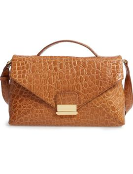 Croc Embossed Leather Shoulder Bag by Dries Van Noten