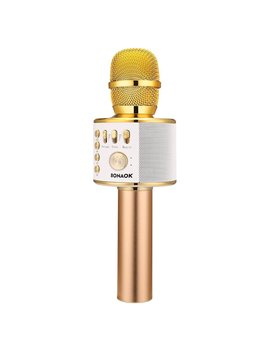 Bonaok Wireless Bluetooth Karaoke Microphone,3 In 1 Portable Handheld Karaoke Mic Home Party Birthday Speaker Machine For I Phone/Android/I Pad/Sony,Pc And All Smartphone(Gold) by Bonaok
