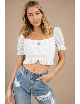 Lindsay White Crop Top by Tobi