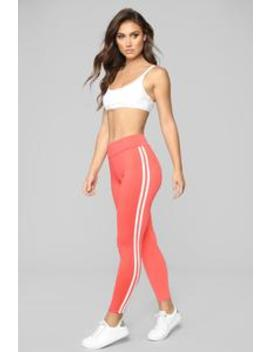 You Really Stretch It Stripe Leggings   Coral by Fashion Nova