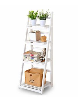 Big Tree 4 Tier White Ladder Shelf Wooden Folding Bookcase Display Unit Storage Stand by Amazon