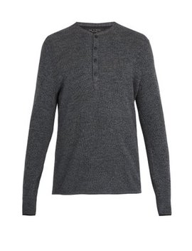 Giles Ribbed Knit Wool Henley Top by Rag & Bone