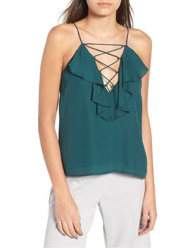 Lace Up Ruffle Cami by Wayf