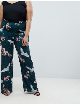 Club L Plus Wide Leg Printed Pants by Club L