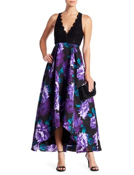 Halter Neck Gown With Lace Top by Jump