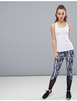 South Beach Navy Marble Fitness Legging With Mesh Detail by South Beach