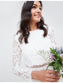 Asos Edition Lace Long Sleeve Crop Top Maxi Wedding Dress by Asos Edition