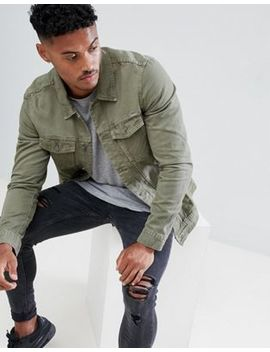 Pull&Bear Denim Jacket In Khaki by Pull&Bear