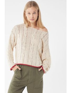 Uo Carly Contrast Trim Cable Knit Sweater by Urban Outfitters