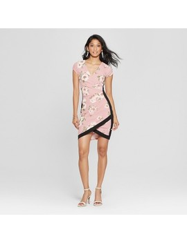 Women's Floral Print Short Sleeve Framed Wrap Dress   Almost Famous (Juniors') Pink by Almost Famous