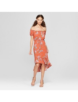 Women's Floral Print Short Sleeve Ruffle Flounce Dress   Almost Famous (Juniors') Dark Orange by Almost Famous