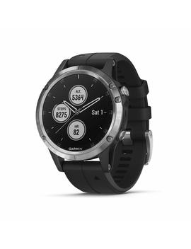 Garmin Fenix 5 Plus Premium Multisport Watch With Music, Maps And Garmin Pay, Silver With Black Band by Amazon