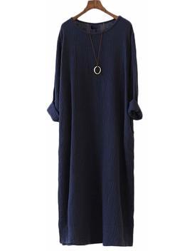 Soojun Women's Casual Loose Long Sleeve Cotton Linen Dresses Robe by Soojun
