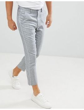 Boohoo Man Tapered Pants With Side Stripe In Gray by Boohoo Man