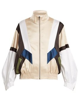 Contrast Panel Zip Through Satin Track Top by Koché